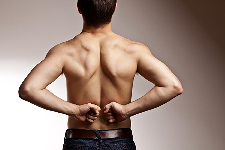Rückenschmerz Gestik