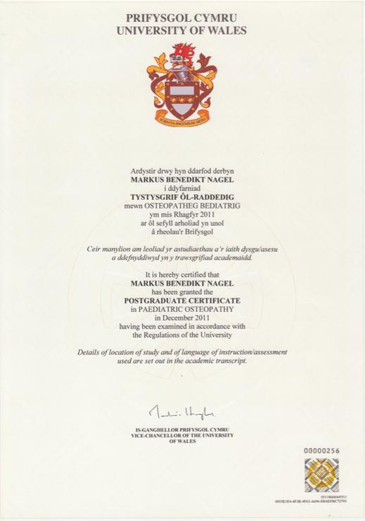 Zertifikat Kinderosteopathie Markus Nagel Universität Wales